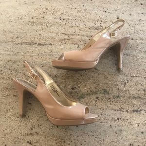 Rampage 8.5M Taupe Open Toe Heels